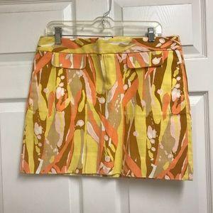 J Crew Sz 8 Bright Orange & Yellow Skirt